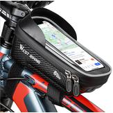 WEST BIKING Telaio anteriore per bicicletta da 6 pollici Borsa Supporto per telefono da bici impermeabile Borsa Touch screen Visiera parasole Manubrio tubo superiore Borsa