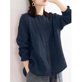 Botón de manga larga sólido de cuello alto simple de algodón para mujer Camisa