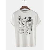 Mens engraçado graffiti imprimir manga curta solta camisetas