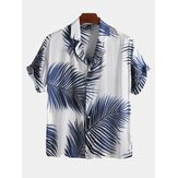 Mens Palm Leaf Printed Summer Casual Vacation Hawaiian Shirts