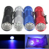 385nm 9 LED Mini Aluminium UV Ultra Violet Detection Lamp Blacklight LED AAA Mini Flashlight
