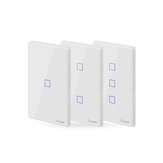 SONOFF® T2 EU / US / UK AC 100-240V 1/2/3 Gang TX Series 433Mhz WIFI Wall Switch RF ذكي Wall لمس Switch for ذكي Home Work with Alexa Google Home