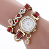 Мода роскошь Женское Love Word кожаный ремешок Кварцевые часы
