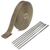 Escape 25mmx15m envoltório isolamento térmico tape tubulação de fibra de vidro de titânio com 6 laços inoxidável