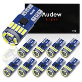 Original AUDEW 10PCS 4014 SMD T10 W5W LED Side Wedge Marker Lights CANBUS Error Free 12V 6712K White