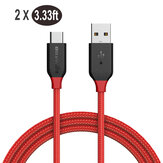 [2 Pack] BlitzWolf® AmpCore BW-TC5 3.33ft Data Cable 3A USB Type-C Braided Fast Charging Line For MI10 Note 9S Huawei P30 P40 Pro