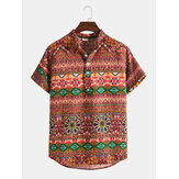 Vintage Style Print Mens Ethnic Half Open Button Short Sleeve Henley Shirts