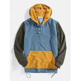 Mens Corduroy Patchwork Button Designer Hoodie With Kangaroo Pocket