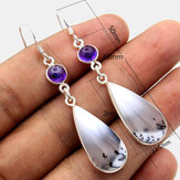 Vintage Geometric Water Drop Hibiscus Earrings Metal Amethyst Pendant Earrings