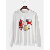 Heren cartoon hond & raket print ronde hals pullover lange mouw leuke sweatshirts