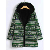 Women Cotton Print Hooded Zipper Coats with Pockets