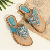 Women Rhinestone Heart Shape Decor Clip Toe Flats Sandals