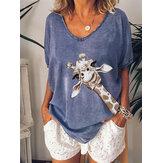 Blusa suelta con cuello en V con estampado de jirafa Mujer