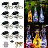 8 Pack Solar WineBottle Cork Lights 2M 20 LEDs Copper Wire Fairy Garland String Lights for Xmas Wedding Party Art Decor Lamp