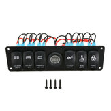 12V 6 Gang LED Rocker Switch Panel ON-OFF Disjuntor de circuito para RV Car Marine Boat