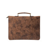 PU Leather Business Briefcase Laptop Bag Retro Handbag Men's Ultrathin File Bag Shoulder Bag Crossbody Bag for 12 inch Notebook