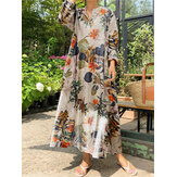 100% Cotton Women Plant Floral Print Button Pocket Casual Loose Maxi Shirt Dresses