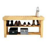 Double-layer Bamboo Shoe Rack Bench Smooth Surface Durable Hardware for Storage