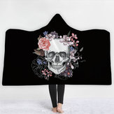 Halloween Wearable Hooded Blanket Thickened Double Plush Digital Printing Skeleton Pattern Blankets