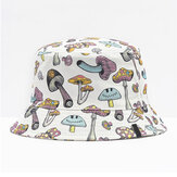 Collrown Unisex Colorful Mushroom Pattern Print Casual Soft Outdoor Travel Bucket Hat