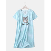 Plue Size Women Funny Cartoon Stripe Owl Print V-Neck Home Casual Short Sleeve Nightgown