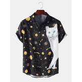 Cartoon Cat Galaxy Grappige print Casual shirts met korte mouwen voor heren Dames