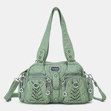Melek Öpücük Kadın PU Deri Çoklu taşıma Düz Renk Moda Rahat Omuz Çanta Crossbody Çanta Çanta