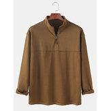 Herre stribe langærmet halv lynlås afslappet Henley skjorter