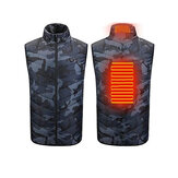 Camouflage Electric Heated Vest 2 Heating Zone 3 Gear Adjustable Heating Jacket Vest USB Charging Washable Winter Warm Coat