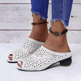 Kadın Oymalı Düşük Topuk Rahat Soft Taban Günlük Sandaletler