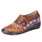 SOCOFY Retro Floral Embossed Splicing Side Zipper Casual Chaussures plates élégantes