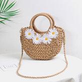 Women Daisy Travel Summer Beach Straw Handbag Crossbody Bag Shoulder Bag