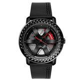 SANDA P1050 Casual Wheel Padrão 3D estereoscópico oco Design Couro Genuíno Relógio de quartzo masculino com pulseira à prova d'água