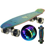 22 Inch Skate Board Flash LED Wheels Mini Cruiser Skateboard Electroplating Process Longboard Street Outdoor Sport