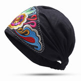 Women Vintage Floral Embroidered Beanie Caps Outdoor Good Elastic Turban Hat