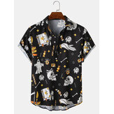 Mens Halloween Funny AllOver Skull Printing Relaxed Fit Short Sleeve Shirts