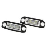 2 pièces 18LED plaque d'immatriculation lampe ampoule sans erreur pour Volvo S40 S60 S80 V50 XC70