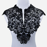 Beautiful Black & Off White Embroidery Big Flowers Lace Neckline Fabric DIY Collar Lace Fabrics for Sewing Supplies Craft
