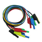 DANIU P1050 5Pcs 5 Colours 1M 4mm Banana to Banana Plug Soft Silicone Test Cable Lead for Multimeter