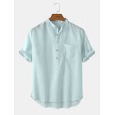 Camicie Henley da uomo casual a maniche corte in cotone con colletto a righe verticali