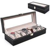 6 Grids Aluminium Watch Storage Case Holder Organiser Display Jewelry Watch Box