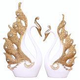 Paar Swan Ornament Haus Dekorationen Accessoires Wohnzimmer TV Schrank Hochzeitsgeschenke