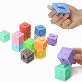 6/12 PCS Baby Grasp Borracha Squeeze Toy Developmental Building Building Brinquedos de Aprendizagem Com Caixa Embalagem