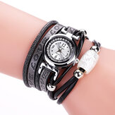 Fashion Luxury Rhinestone PU Leather Women Quartz Watch Bracelet Watch