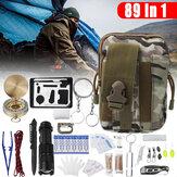 89 sztuk / zestaw Zestaw pierwszej pomocy SOS Torba taktyczna w kamuflażu pustynnym + latarka + linka do parasola 3,5 m + pęseta + 4-pin + wacik (50 szt.) + Rękawiczki z PVC (para) + klamra D + 1 torba na ryby Sprzęt do przetrwania na kempingu Sprzęt