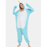 Women Cute Narwhal Patchwork Fleece Home Jumpsuit Loose Hooded Animal Jumpsuits