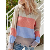 Contrast Color Stripe Print Backless Design Raw Hem Knitted Sweater