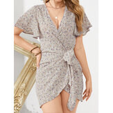 Daily Casual Floral Wrapped Body Tie V-neck Short Printed Mini Dress