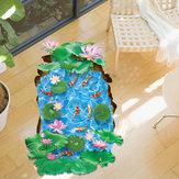 Miicoالإبداعية3Dذهبيةلوتسبركة PVC للإزالة غرفة ديكور المنزل ديكور جدار الطابق ملصق