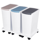 15L Trash Cans Wet and Dry Garbage Press Type Garbage Bin with Cover Household Kitchen Bin Recyclable Storage